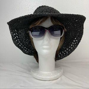 Panama Jack Black Straw Floppy Hat